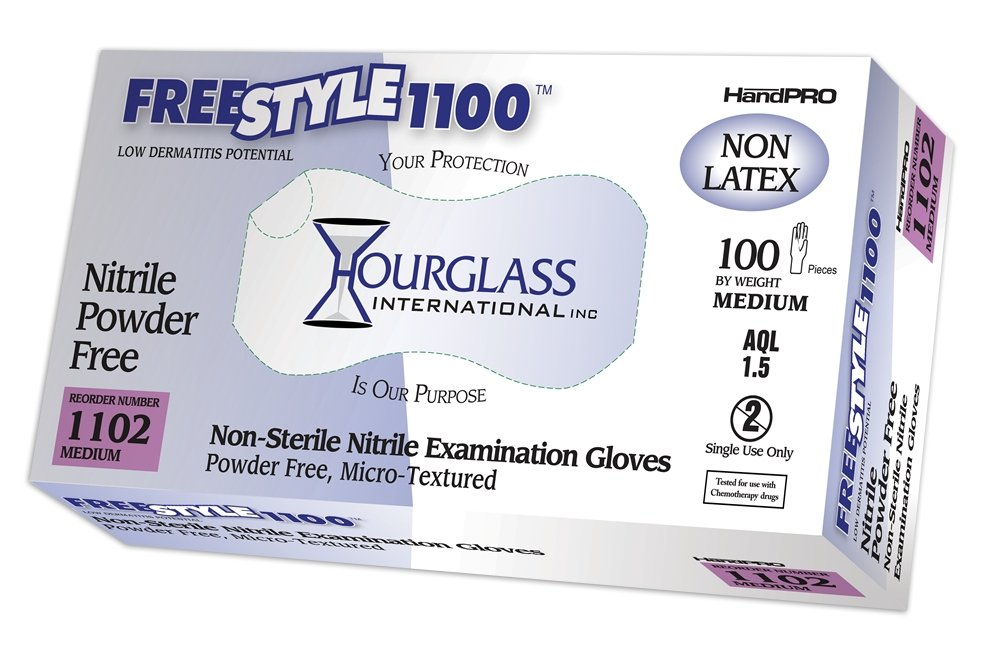 Hourglass HandPRO FreeStyle1100 Nitrile Glove, Exam, Powder Free, 240mm Length, 0.06mm Thick, Medium (Box of 100)