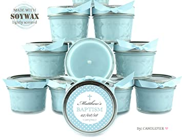 12 Blue Baby Boy Polka Dots Baptism Favors 4oz Personalized Soycandles Christening Table