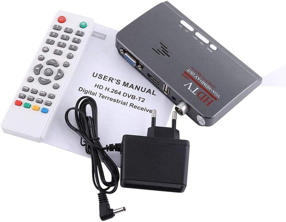 Decodificador de TV Digital Full HD 1080P terrestre, USB 2.0 Freeview Grabador de sintonizador de TV 1080P HD HDMI H.264 DVB-T2 Puerto VGA TV Box con Control Remoto: Amazon.es: Electrónica