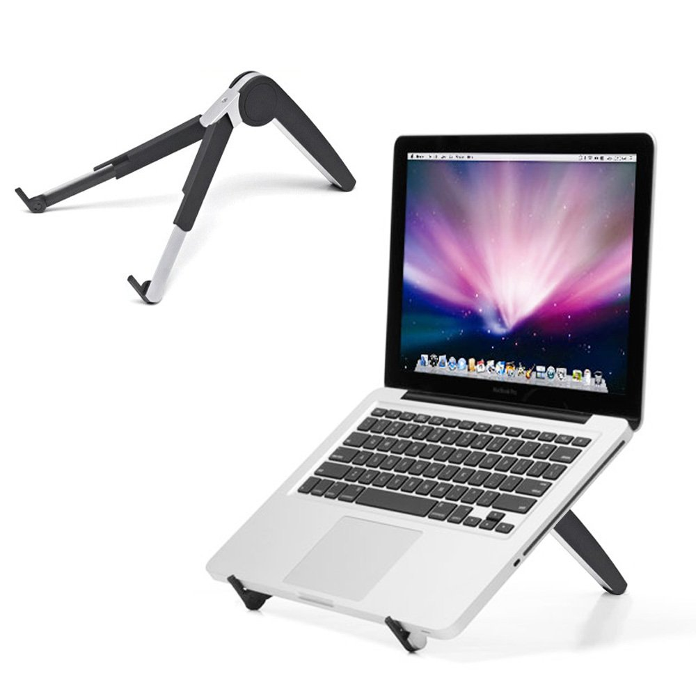 Adjustable Laptop Stand for Desk, Portable Ventilated Laptop Holder (up to 15 inches) for All MacBook Pro/Air,Microsoft Surface, Notebook (Black)