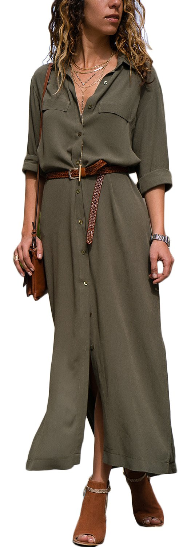 NENONA Women's Button Down Collar Long Sleeve Casual Long Dresses Loose Sexy Split Shirt Dress(Army Green-M)