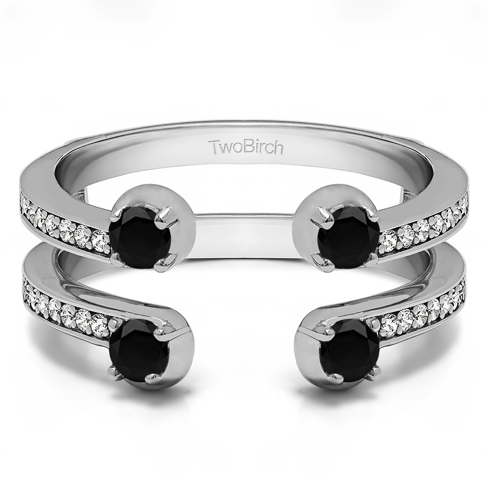 Sterling Silver Two Stone Wedding Ring Guard with Black And White Diamonds (G-H,I2-I3) (0.36 ct.)