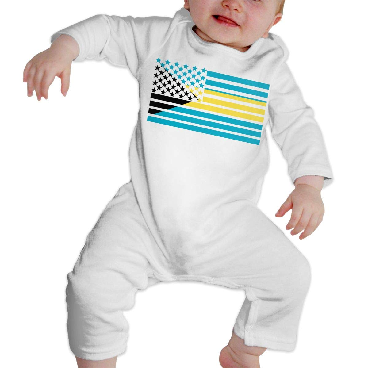 A1BY-5US Newborn Baby Boys Girls Cotton Long Sleeve American Bahamas Flag Baby Clothes One-Piece Romper Clothes
