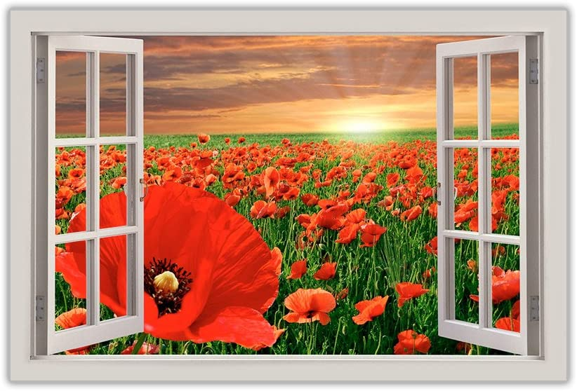 Red Poppy Field Window Effect Framed Prints Canvas Pictures Wall Art Home Deco Floral Art Size 40 X 30 101cm X 76cm Amazon Co Uk Kitchen Home