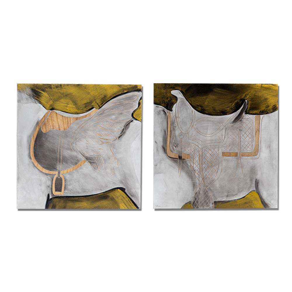 Guild Home Gallery Horseback Pattern Wall Panel GHGWA17267 40X40X4cm 1PC Handcarved and Handpainted Art Wall Decor