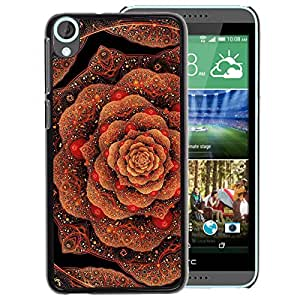 A-type Arte & diseño plástico duro Fundas Cover Cubre Hard Case Cover para HTC Desire 820 (Cabbage Floral Pattern Copper Bling Gold)