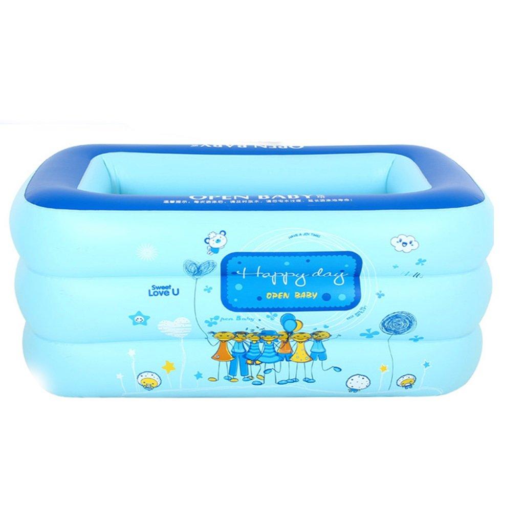 Baby Inflatable Folding Bathtub, Portable Tub Blue Bath Thicker Insulation Home SPA Swimming Pool, Foldable Travel Air Shower Basin Seat Baths (Edition : MANUALLY)