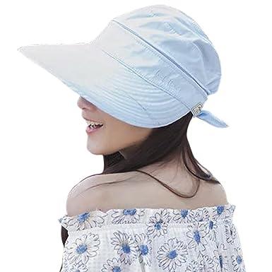 2278de423 Women Sun Hat Ladies Summer Wide Brim Visor Cap Adjustable Beach Outdoor  Bucket Hat with Bowknot Detachable Top Golf Hat Foldable Travel Hiking Flat  ...