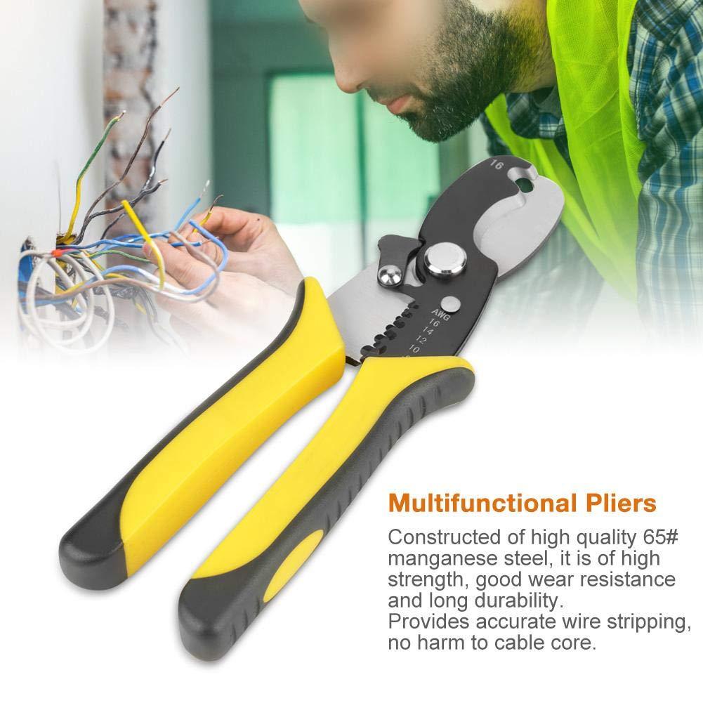RT-6067 Multifunktionale Zange Draht Crimper Kabel Stripper f/ür Kabelschneiden und Abisolieren 180mm L/änge