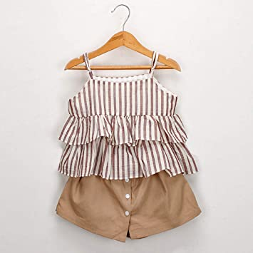 0e306aae4781 Image Unavailable. Image not available for. Color: Girls Culottes Set,Kids  Striped Ruffled Suspenders Vest T-Shirt Skirt Shorts Suit Outfits