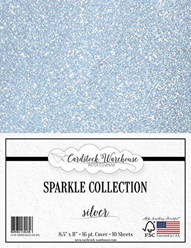 Silver Stock - MirriSparkle Silver Glitter Cardstock Paper from Cardstock Warehouse 8.5
