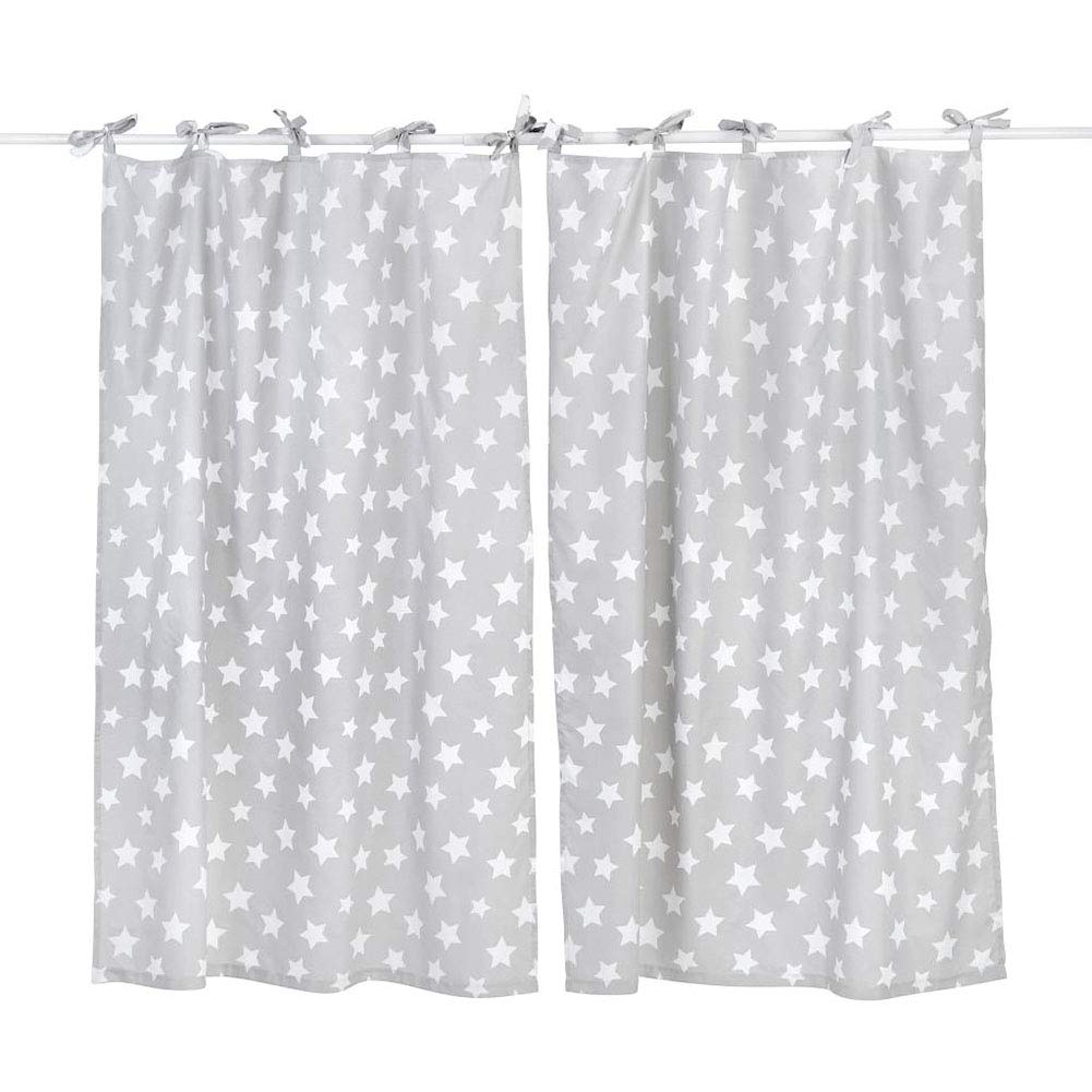 [Gray White Star] Crib Bedding Accessory - Window Curtain by Blancho Bedding (Image #1)