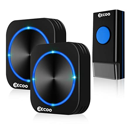 EECOO Wireless Doorbell, Waterproof Door Kit, 2 Lighted Plugin Receivers 1 Remote Button Transmitter with Battery, 58 Chimes Melodies, 1000ft Long Range Black Bells, 4 Working Modes