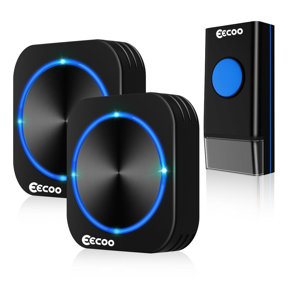EECOO Wireless Doorbell Kit, Waterproof Door Bells Chimes, 2 Plug-in Receivers 1 Weatherproof Push Button Operating Range at 1000 Feet with 58 Melodies and LED Flash (Black)