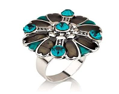 Hypoallergenic Surgical Steel Rhodium Plated Round Turquoise Flower Ring NTbRix