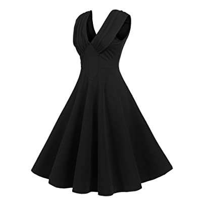 ACEVOG Women's Casual Dress Elegant Dress A Line Cap Sleeve V Neck Flared Midi Dress at Amazon Women's Clothing store