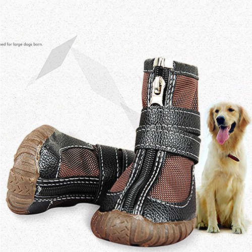 Brown Sugar 4 pcs Large Dog Shoes Winter Waterproof Non-Slip for Pitbull Golden Retriever (# 10) by Brown Sugar (Image #1)