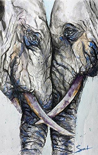 Elephant Watercolor Painting, Elephant Print, Elephant Decor, Elephant Wall Art, Animal Print, Two Elephants, Elephant Lover (Elephants Fine Art)