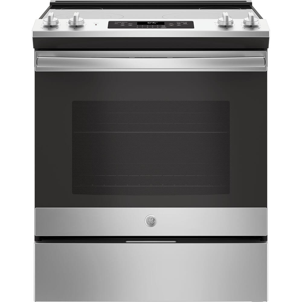 GE JS645SLSS 30 Inch Slide-in Electric Range with Smoothtop Cooktop, 5.3 cu. ft. Primary Oven Capacity, in Stainless Steel