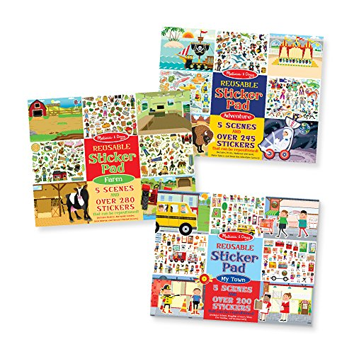 - Melissa & Doug Reusable Sticker Pad 3 Pack My Town, Farm, Adventure, Multicolor