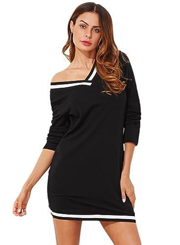 ROMWE Vestido de Jersey con Cuello en V y Manga Larga Casual, Negro S: Amazon.es: Ropa y accesorios