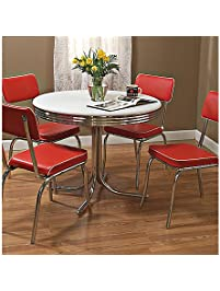 target marketing systems 5 piece retro dining set with 4 dining chairs and 1 round dining - Dining Table And Chair Set