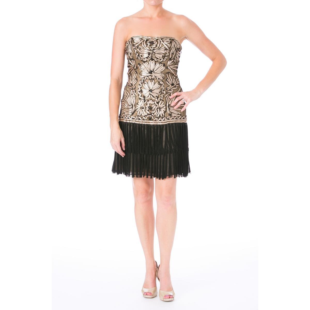 77c587a752b Sue Wong Womens Fringe Strapless Cocktail Dress - Black -  Amazon.co.uk   Clothing