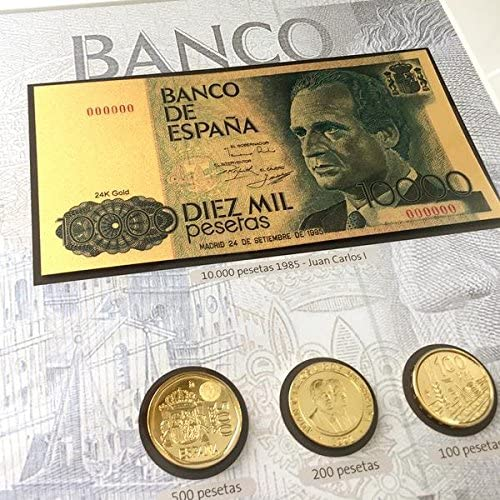 IMPACTO COLECCIONABLES Monedas, Billetes de ESPAÑA - 8 Pesetas Bañadas en Oro 24 Quilates + 1 Billete de 10.000 Pesetas en Oro 24 Quilates: Amazon.es: Juguetes y juegos