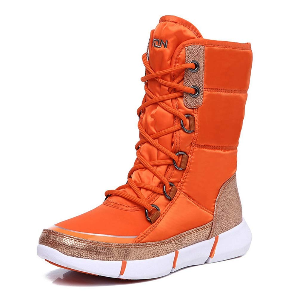 Hoxekle Women Snow Boot Waterproof Thick Cotton Platform Lace Up Mid Calf Blue Orange Velvet Casual Outdoor Female Hiking Walking Shoes