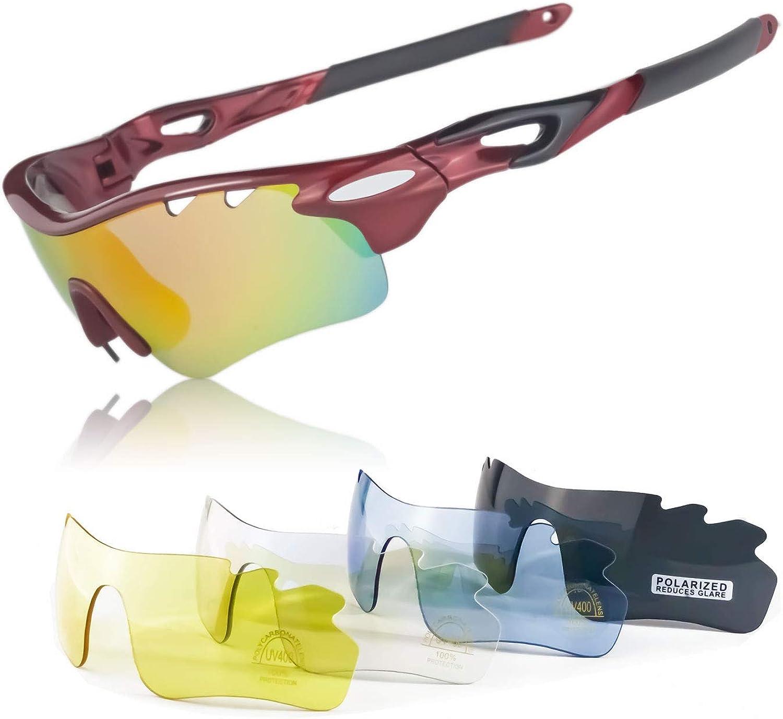 Gafas de Bicicleta UV 400 con Lentes Curvadas Intercambiables JBeard Gafas Deportivas con lentes Polarizadas y Espejo para Ciclismo MTB Running Gafas Deporte Correr e Bici para Hombre e Mujer