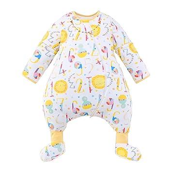 HUYP Saco De Dormir para Bebé Pies Mangas Extraíbles Saco De Dormir con Pies El Algodón