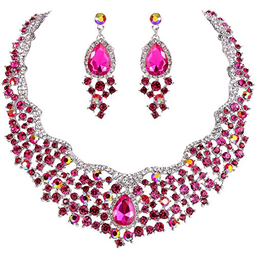EVER FAITH Women's Austrian Crystal Flower Cluster Teardrop Gorgeous Necklace Earrings Set Fuchsia - Fuchsia Tone Crystal