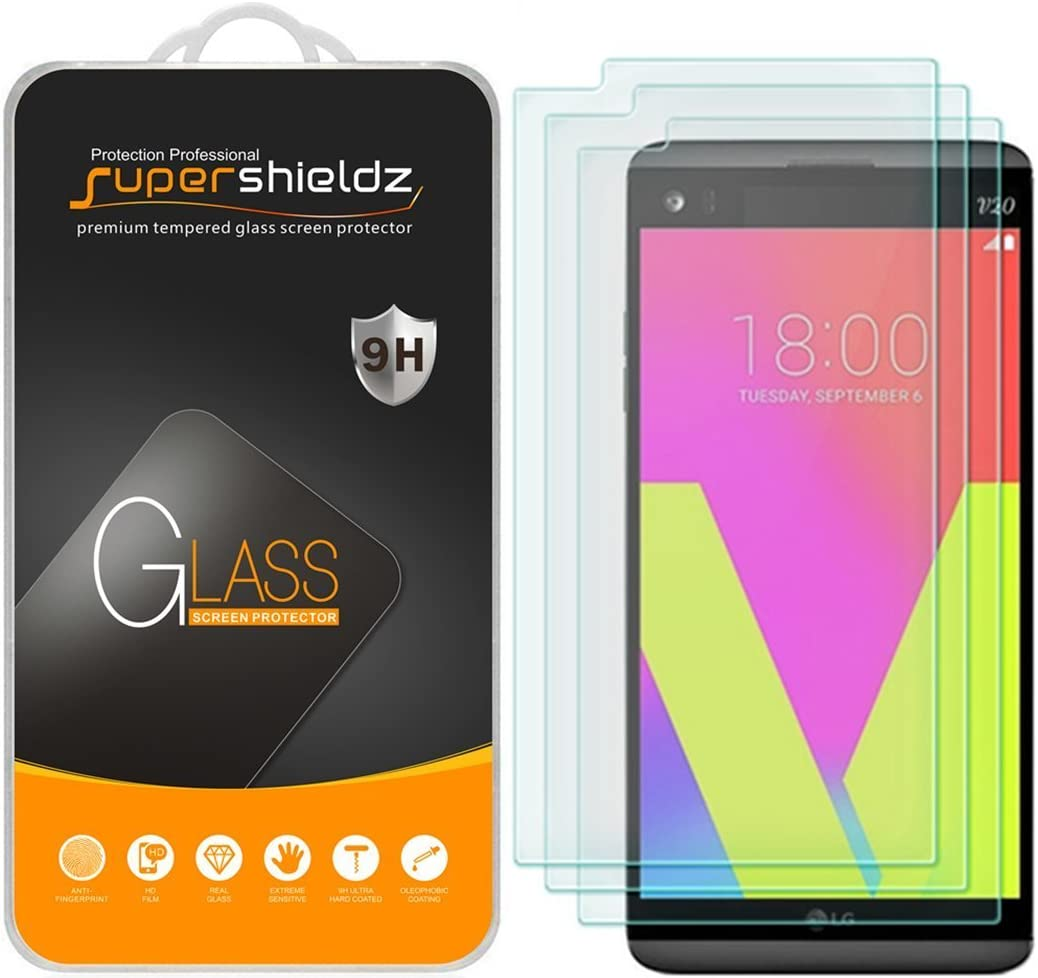 Supershieldz (3 Pack) for LG V20 Tempered Glass Screen Protector, 0.33mm, Anti Scratch, Bubble Free