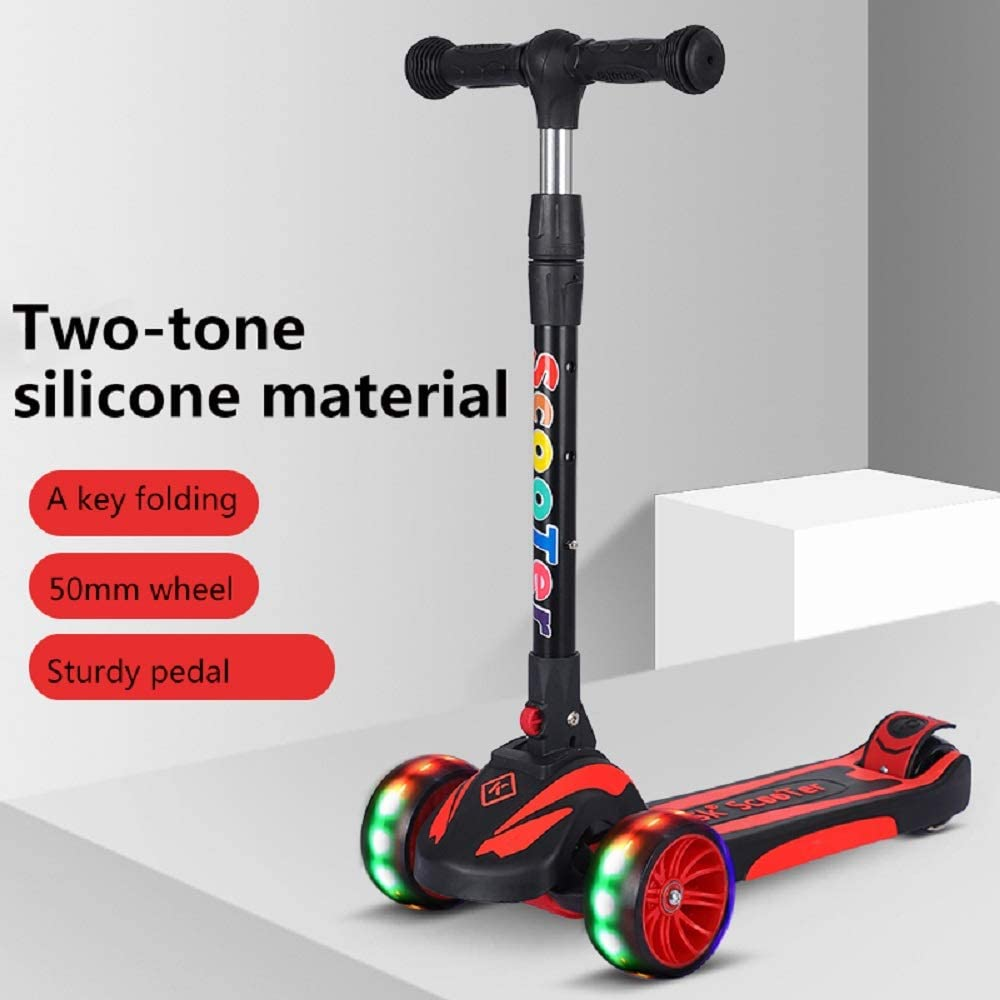 SDSPEED Kick Scooter for Kids Extra Wide Light-Up Wheels Safety First Scooter 3 Height Adjustable Wide Deck Best Gifts Kids Boys Girls