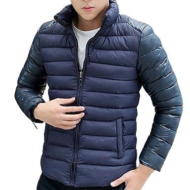 Longra ☂☂❤ ❤ Abrigo Plumas Hombre, Cuello de Soporte de Costura Chaqueta Engrosada Chaqueta de algodón: Amazon.es: Ropa y accesorios