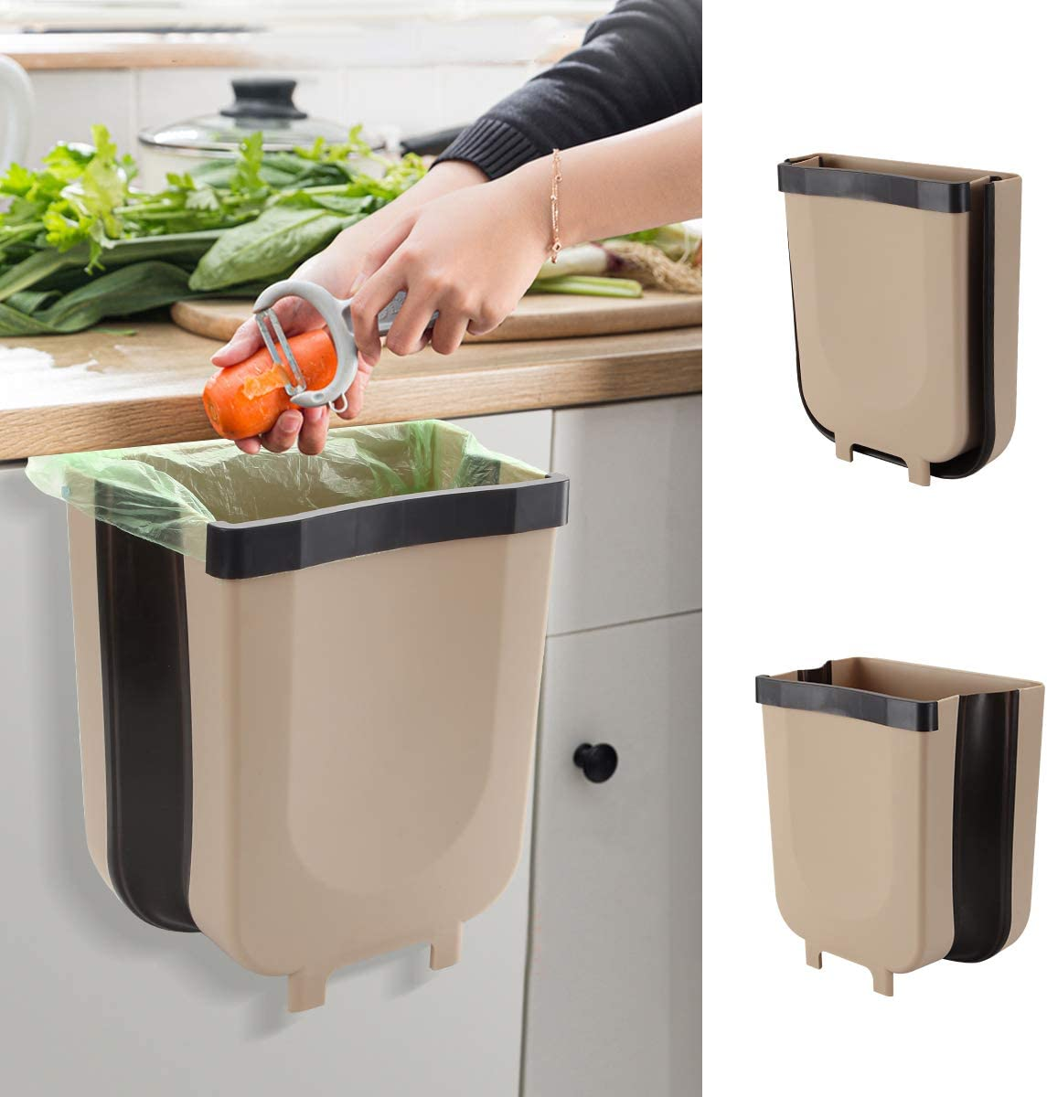 NULIPAM Hanging Kitchen Waste Bin Cabinet Trash Can Collapsible Mini Garbage Cans for Car/Bathroom/Office/Bedroom/Camping -2.4 Gallon