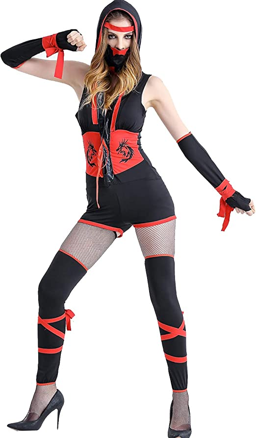 Youmay Disfraz de Ninja Sexy para Mujer, Disfraz de Geisha - Negro ...
