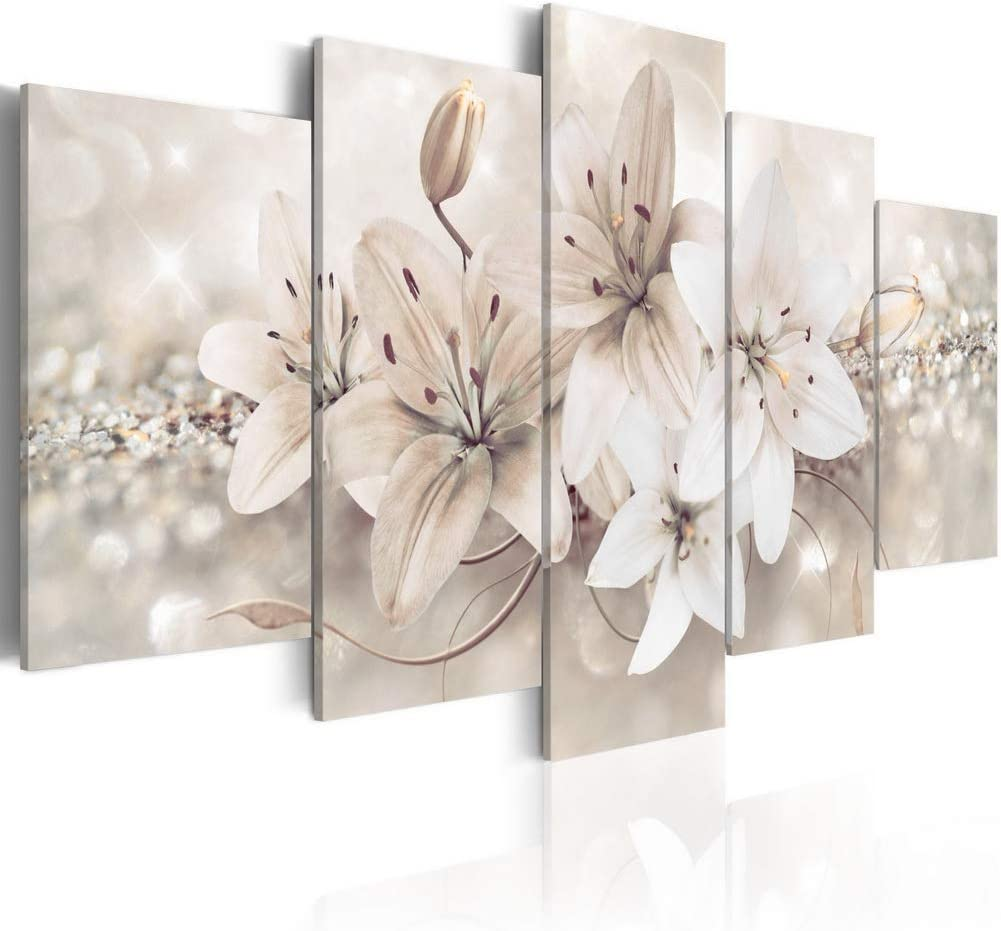 "Melpa Art Winter Princess 5 panels Modern Abstract White Flower Canvas Wall Art Painting on Wooden Frames Home Decor HD Picture Print Floral Artwork (W40"" x H20"")"