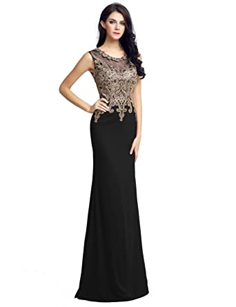 Clearbridal Sexy Mermaid Prom Party Evening Dress Long Bridesmaid Dress Wedding Dress with Applique CLX211 Black