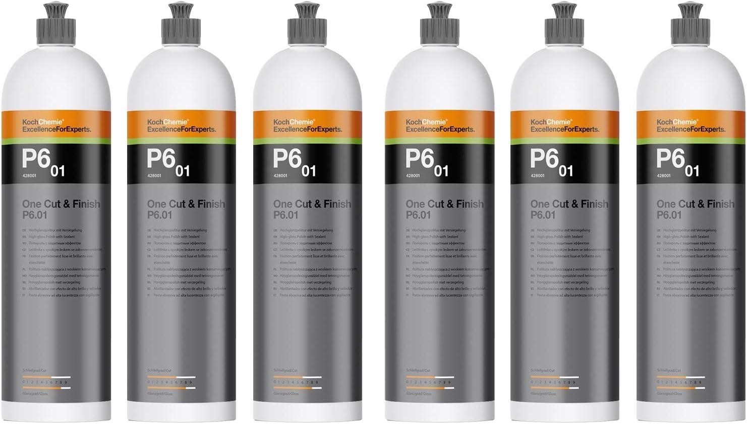 Parts4care 6x Koch Chemie P6 01 One Cut Finish Hochglanzpolitur Versiegelung Politur 1 L Auto
