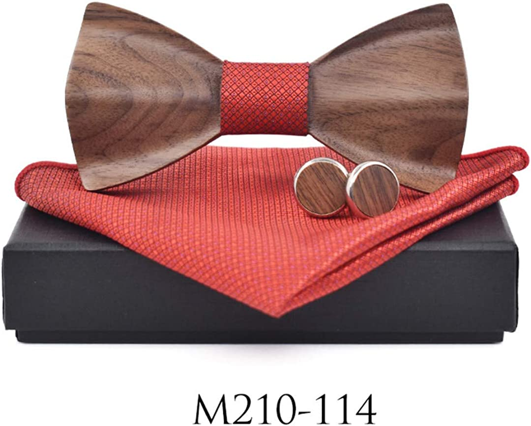 3D Mens Wood Ties Suit Cufflinks Pocket Square Wooden Bow Tie Marriage Bow Ties