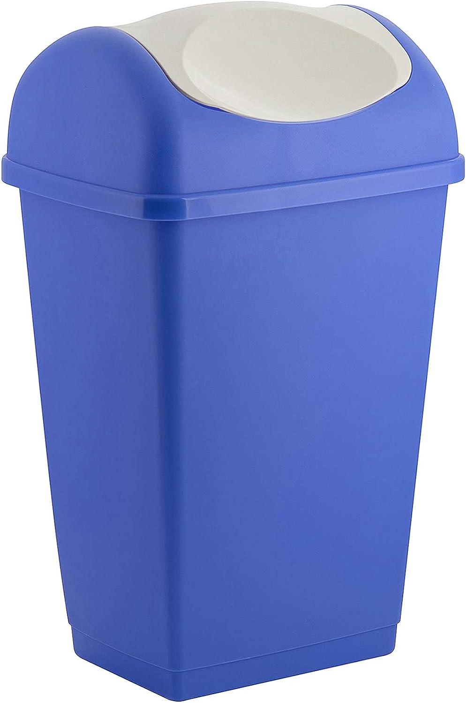 axentia Schwingdeckeleimer in den Farben Blau und Weiß, Abfalleimer aus Kunststoff für Küche & Bad, Mülleimer mit Schwingdeckel, Fassungsvermögen: ca.