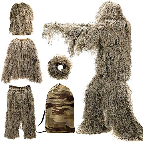 MOPHOTO 5 in 1 Ghillie Suit for Men, 3D Camouflage Desert Ghilly Suits Hunting Apparel Including Jacket, Pants, Hood, Wrap, Carry Bag (M/L/XL/XXL)