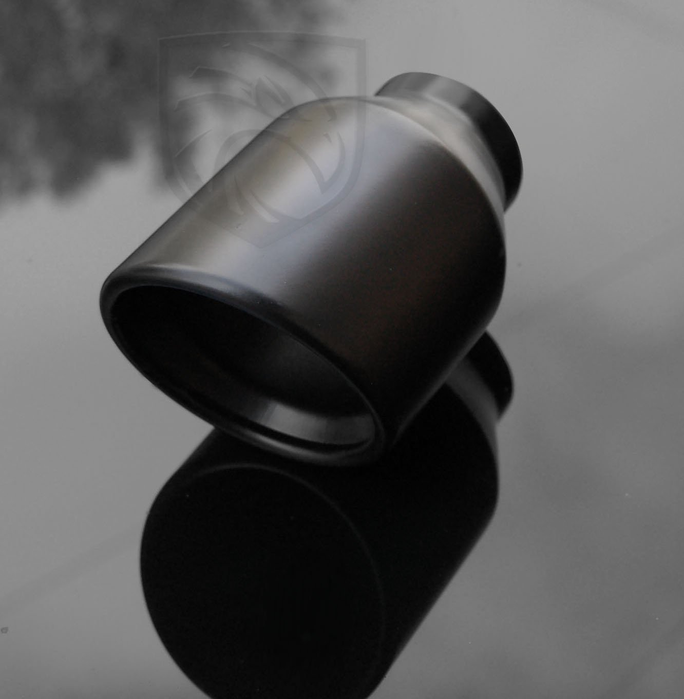 Black Powder Coated Exhaust Muffler Tip Round Forward Slash Cut Rolled Inward Double Wall 2.25'' Inlet / ID, 4'' Outlet / OD, Red Tail Performance #RTP-030B