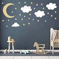 Easu Cloud Wall Sticker Decals Moon and Stars Wall Decals Vinyl Sticker Kids Boy Girls Room Decoration Good Night Nursery Wall Decor … (Gold)