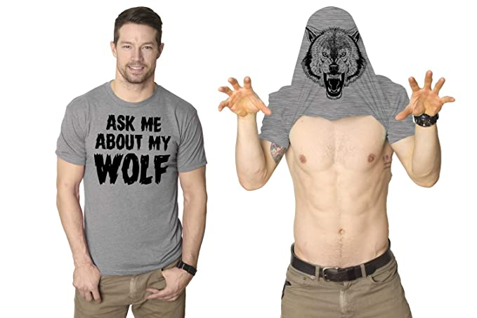 8a8eb1b2c Ask Me About My Wolf Flip Up T Shirt Cool Wolves Shirts Crazy Great Hunting  Idea
