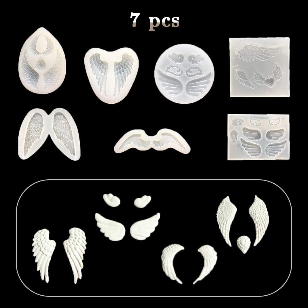 7 Moulle iSuperb 7 pcs Moule R/ésine Moule Aile dange Moulle Silicone Moulle Bijoux pour DIY Artisanat Pendentif