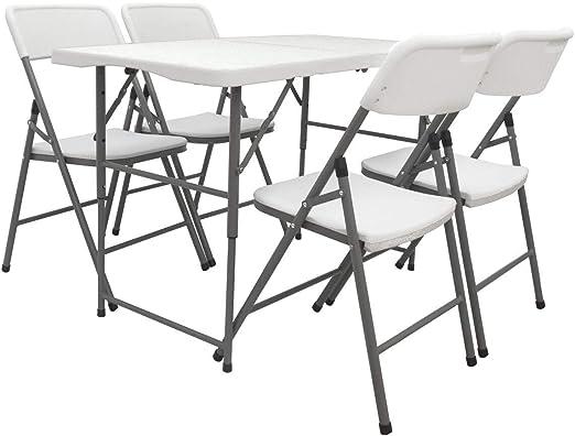 AMANKA Juego de Muebles de Jardín - Mesa 120 cm con 4 Sillas Grupo de Asientos Plegable Impermeable: Amazon.es: Jardín