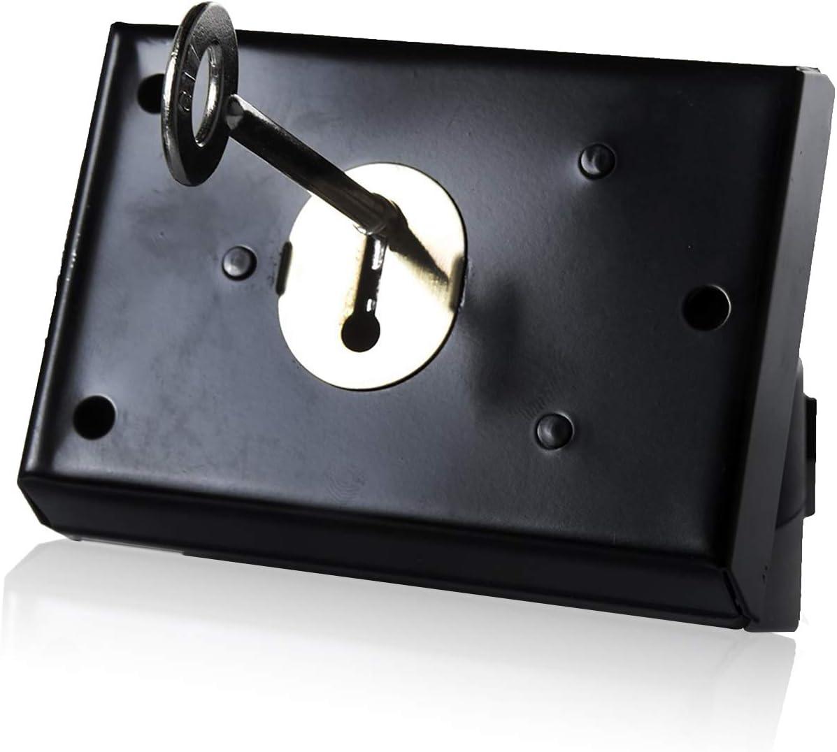 Cerradura de rueda XFORT®, cerradura de rueda de montaje superficial con cerradura de llave, acabado negro liso anticorrosivo y diseño resistente a la intemperie, puertas exteriores de madera (100mm)