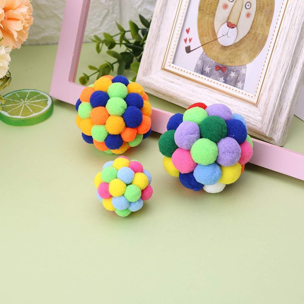Fogun New Pet Cat Toy Colorful Handmade Bells Ball Built-In Catnip Interactive Toy